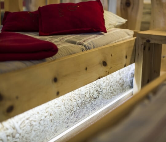Bed in Swiss stone pine