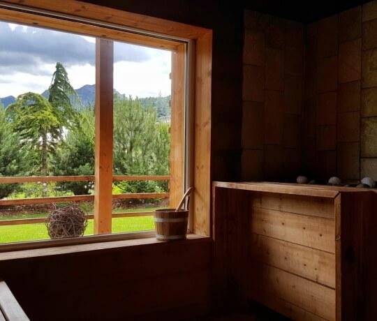 Finnish outdoor sauna in summer
