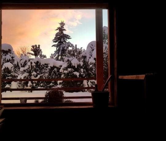 Sauna bei Sonnenuntergang