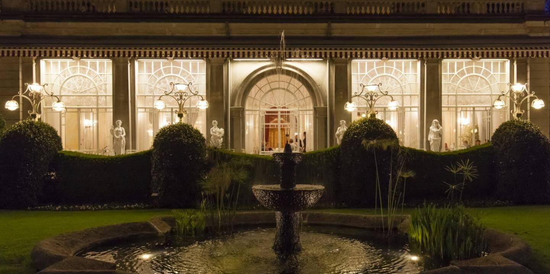 Fontana del ristorante di notte