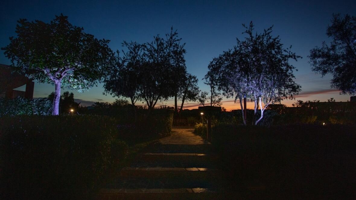 Villa Nea - Vista giardino notturna